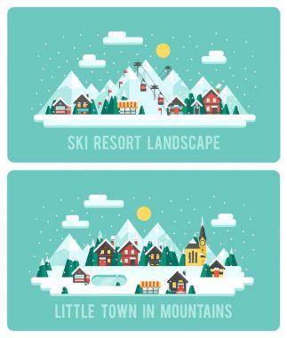 Snowy Landscape Ski Resort. Vector Illustration Night in Mountains. Flat Design Style Winter Background