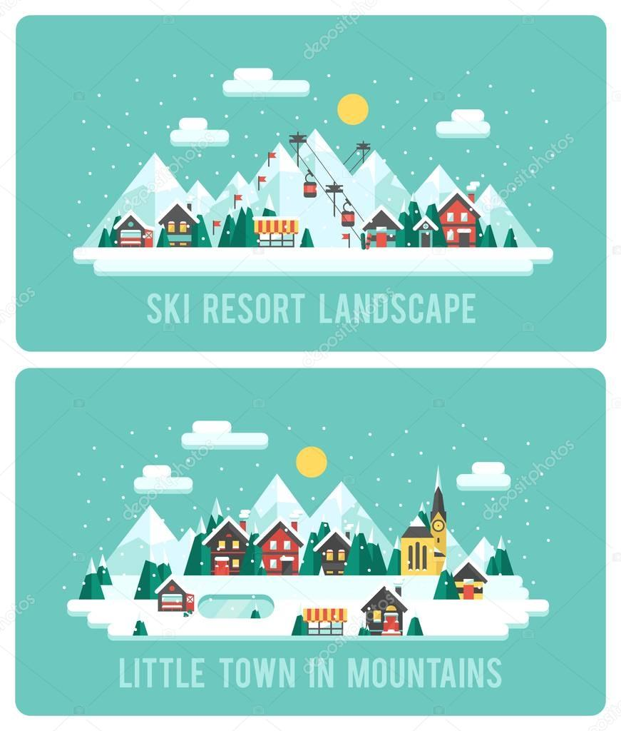 Snowy Landscape Ski Resort. Vector Illustration Night in Mountains. Flat Design Style Winter Background
