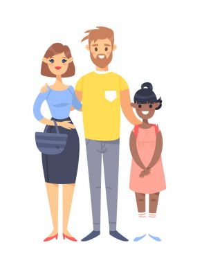 Young couple with daughter. Hand drawn woman, man and adopted black girl. Flat style vector illustration family. Cartoon characters isolated on white background