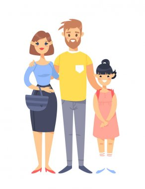 Young couple with daughter. Hand drawn woman, man and adopted asian girl. Flat style vector illustration family. Cartoon characters isolated on white background