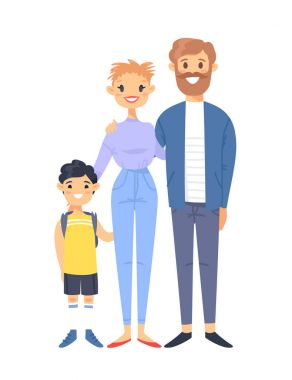 Young couple with son. Hand drawn woman, man and adopted asian boy. Flat style vector illustration family. Cartoon characters isolated on white background