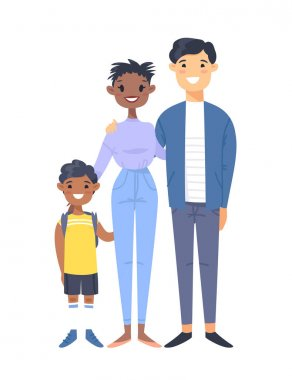 Young couple with son. Hand drawn black woman,asian man and his boy. Flat style vector illustration family. Cartoon characters isolated on white background