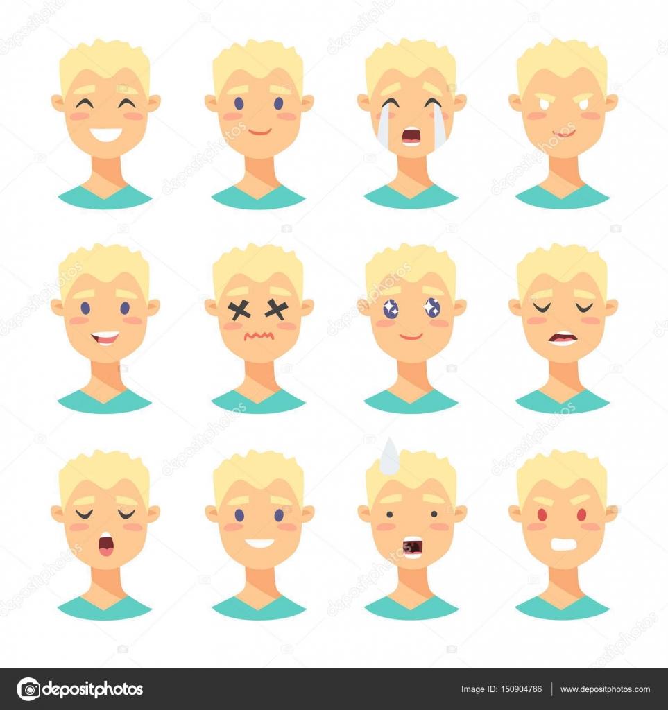 jeu de caractres emoji mle icnes dmotion de style de dessin anim avatars garons isols avec diffrentes expressions faciales - Dessin Avec Emoji