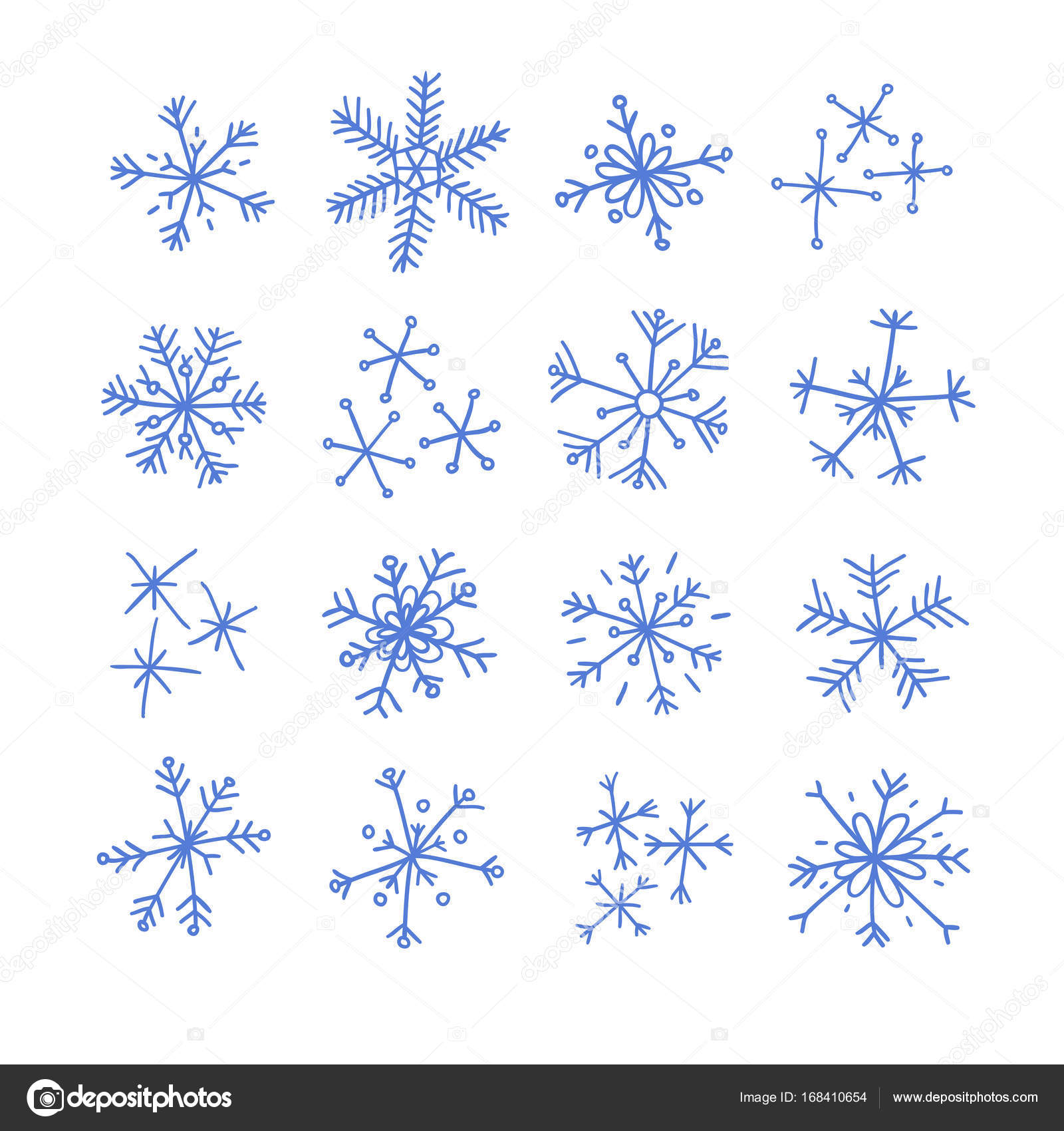 Hand Drawn Set Snowflakes Abstract Doodle Drawing Snow Vector Art
