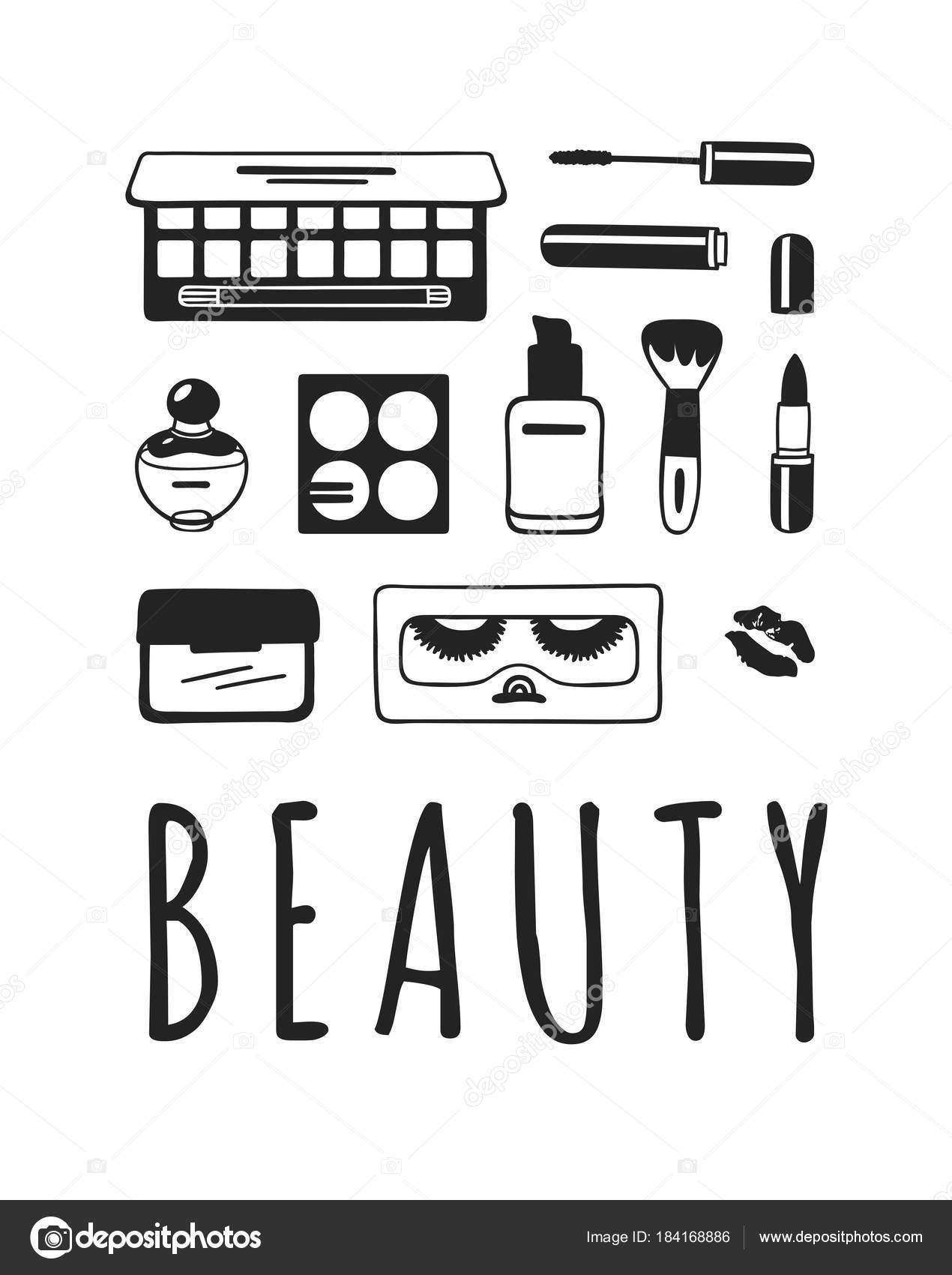 Produits Beaute Illustration Dessinee Main Maquillage Reel Vecteur