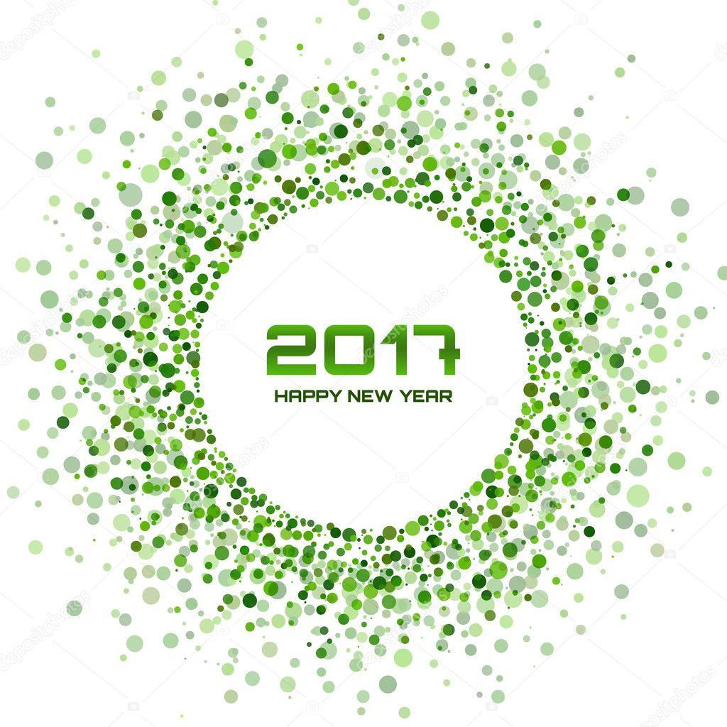 Grüner Kreis Neujahr 2017 auf weißem Hintergrund. Rahmen transparent ...