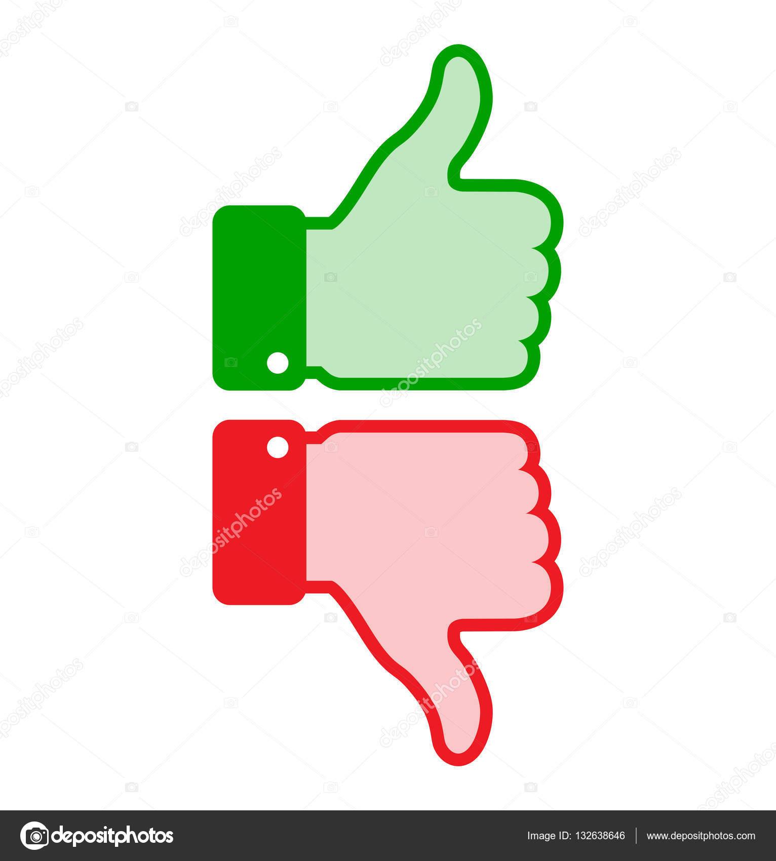 Conjunto de colores rojo verde pulgar hasta los iconos, negocios web ...