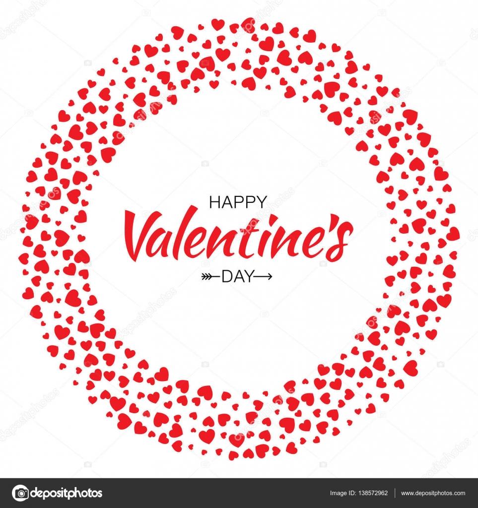 Círculo rojo de corazones marco de día de San Valentín diseño Vector ...