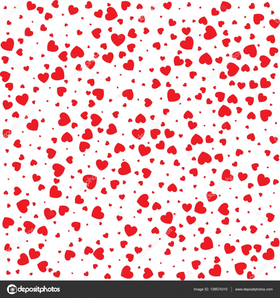 Vector Valentines Day Card Seamless Pattern Red Small Hearts