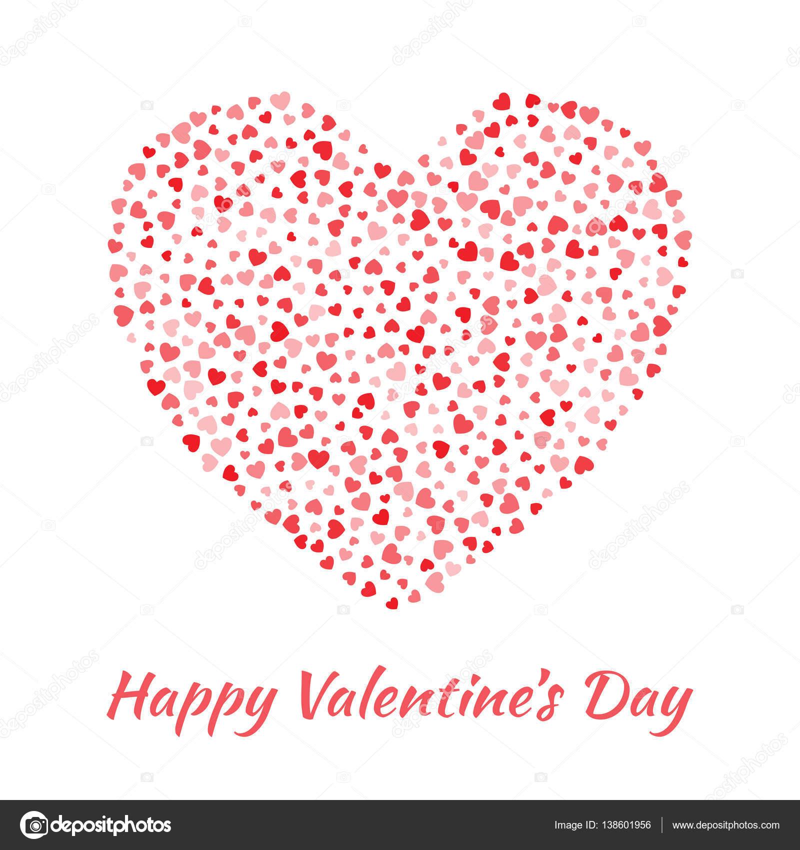 Abstraktes Vektor Elegante Herz Mit Kleinen Roten Herzen Für Valentinstag  Karte Hintergrunddesign. Hochzeit Einladung Karte