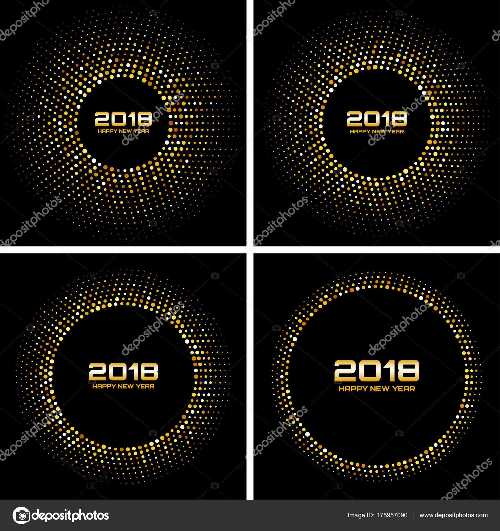 Feliz año nuevo 2018 tarjeta Vector fondos. Serie de oro Disco ...