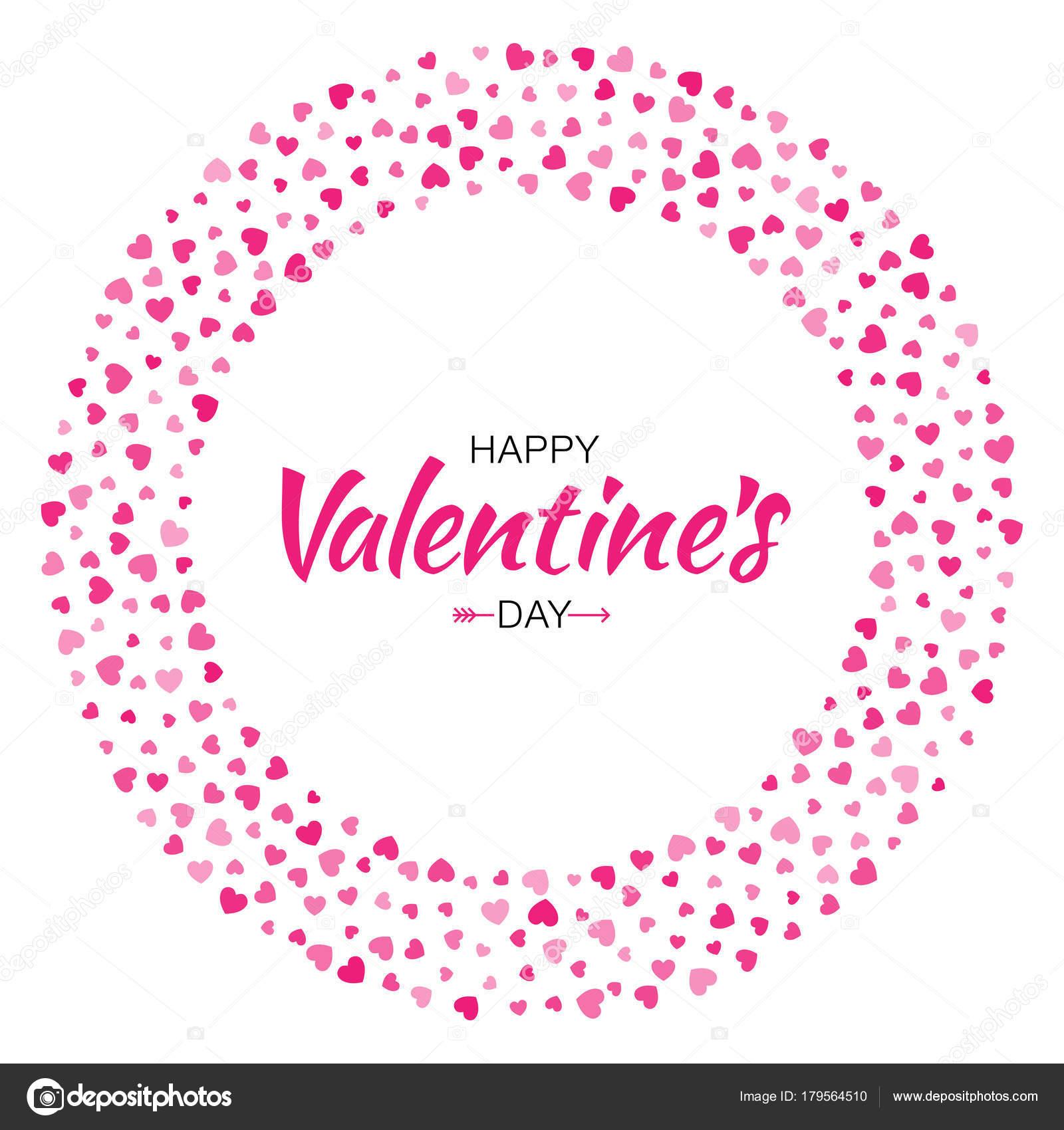 Diseño de tarjeta del día de San Valentín. Marco de círculo de amor ...