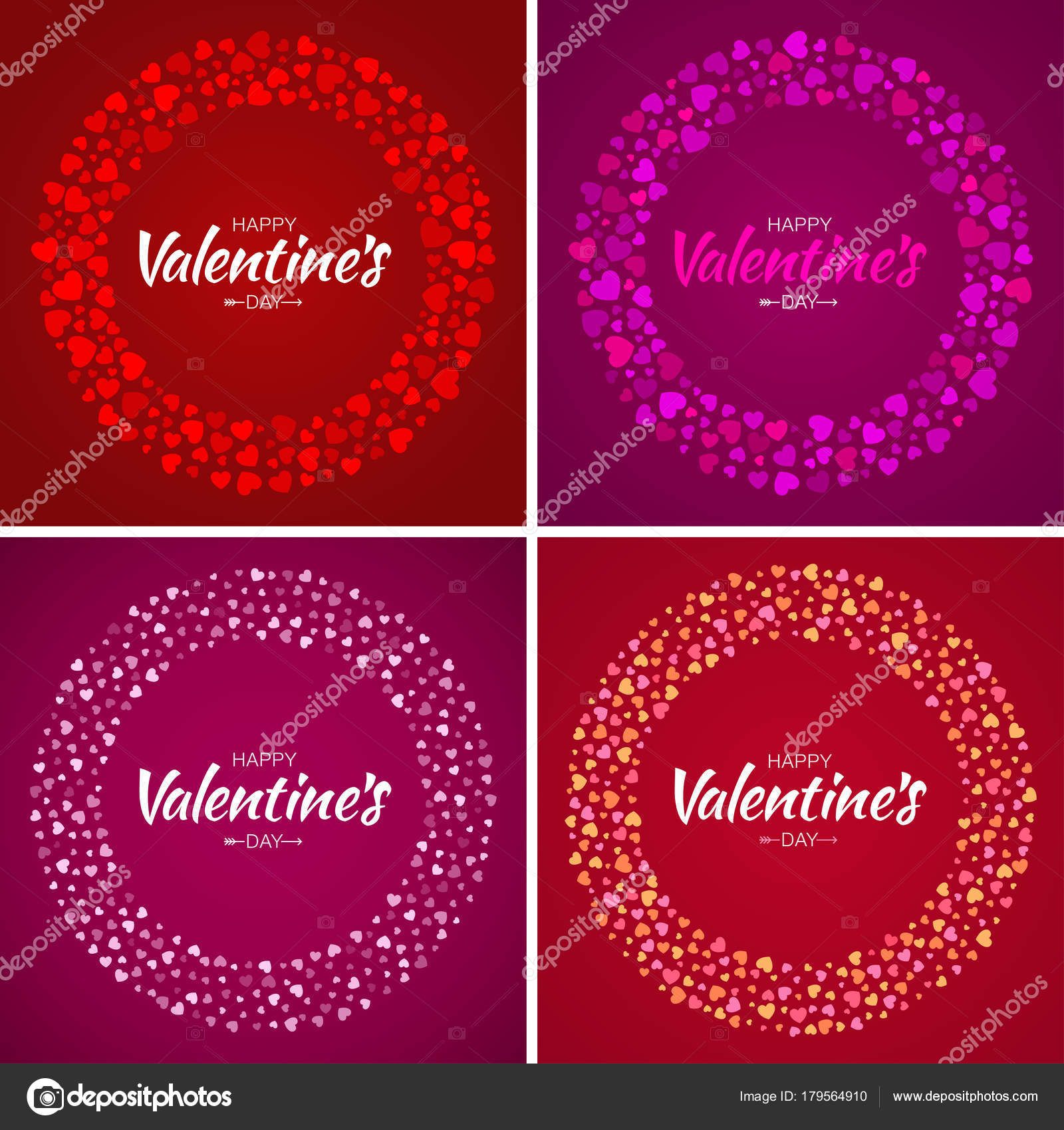 Set of Valentines Day card design. Love circle frame from pattern ...