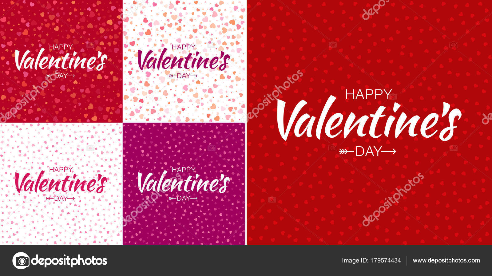 Set Of Valentines Day Card Backgrounds With Colorful Small Hearts
