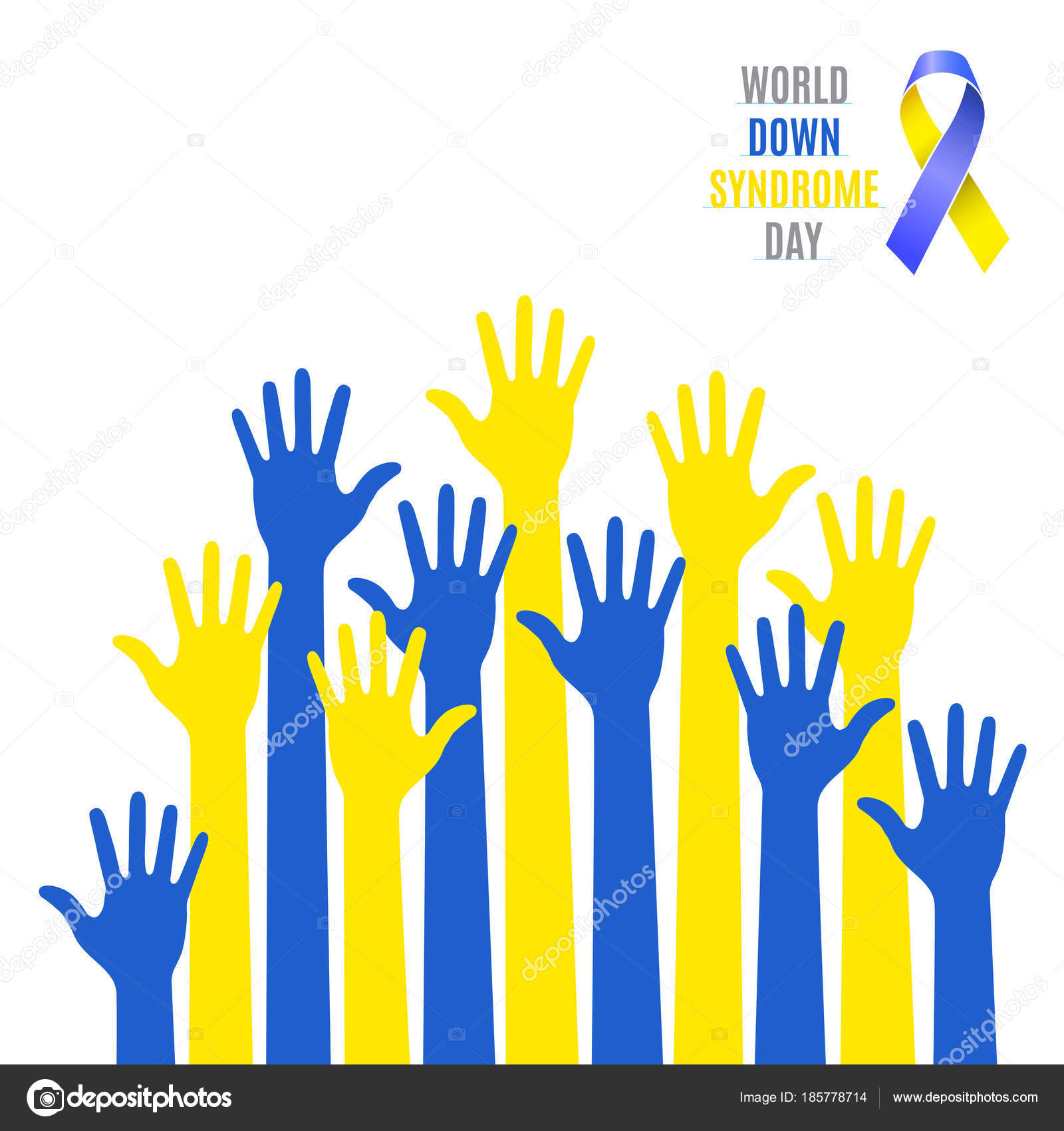 World down syndrome day poster blue yellow hands symbol with ribbon blue yellow hands symbol with ribbon icon isolated on white buycottarizona Image collections