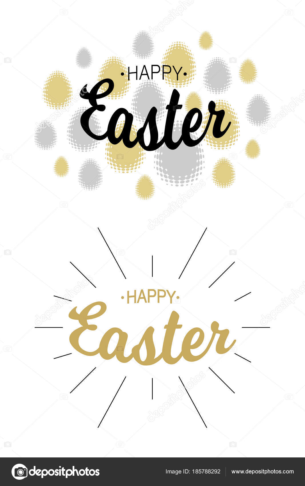 Easter Greetings Card Backgrounds Gold Silver Typographic