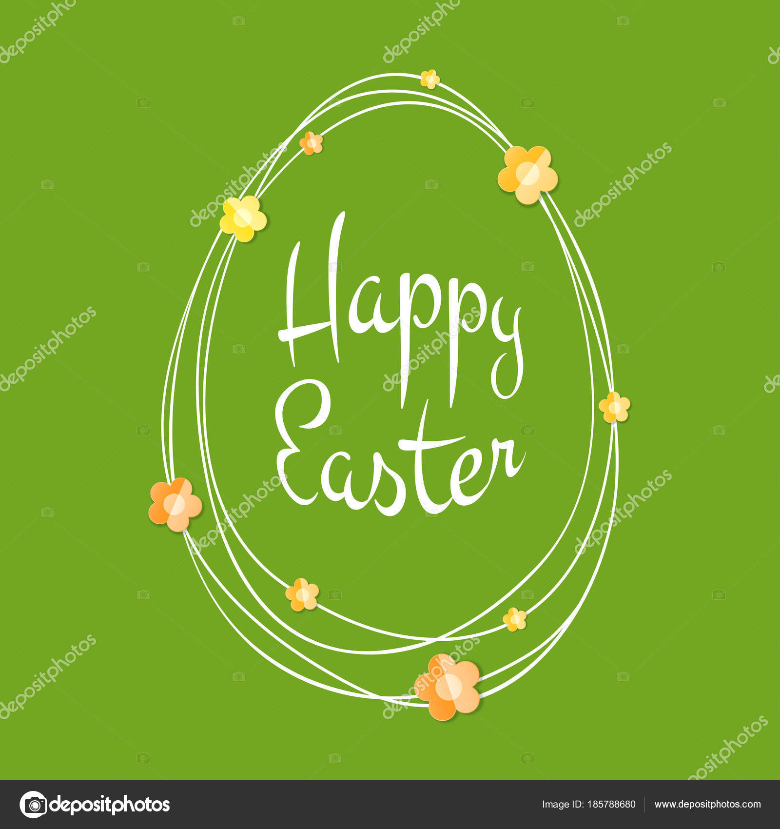Easter Greetings Card Egg Frame With Scribble Lines Calligraphic