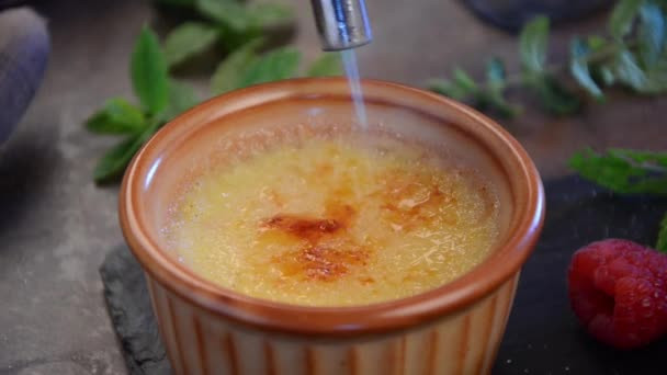 Creme Brulee Finishing By Chef Sugar And Torch Video By Peteer Stock Footage 150137018