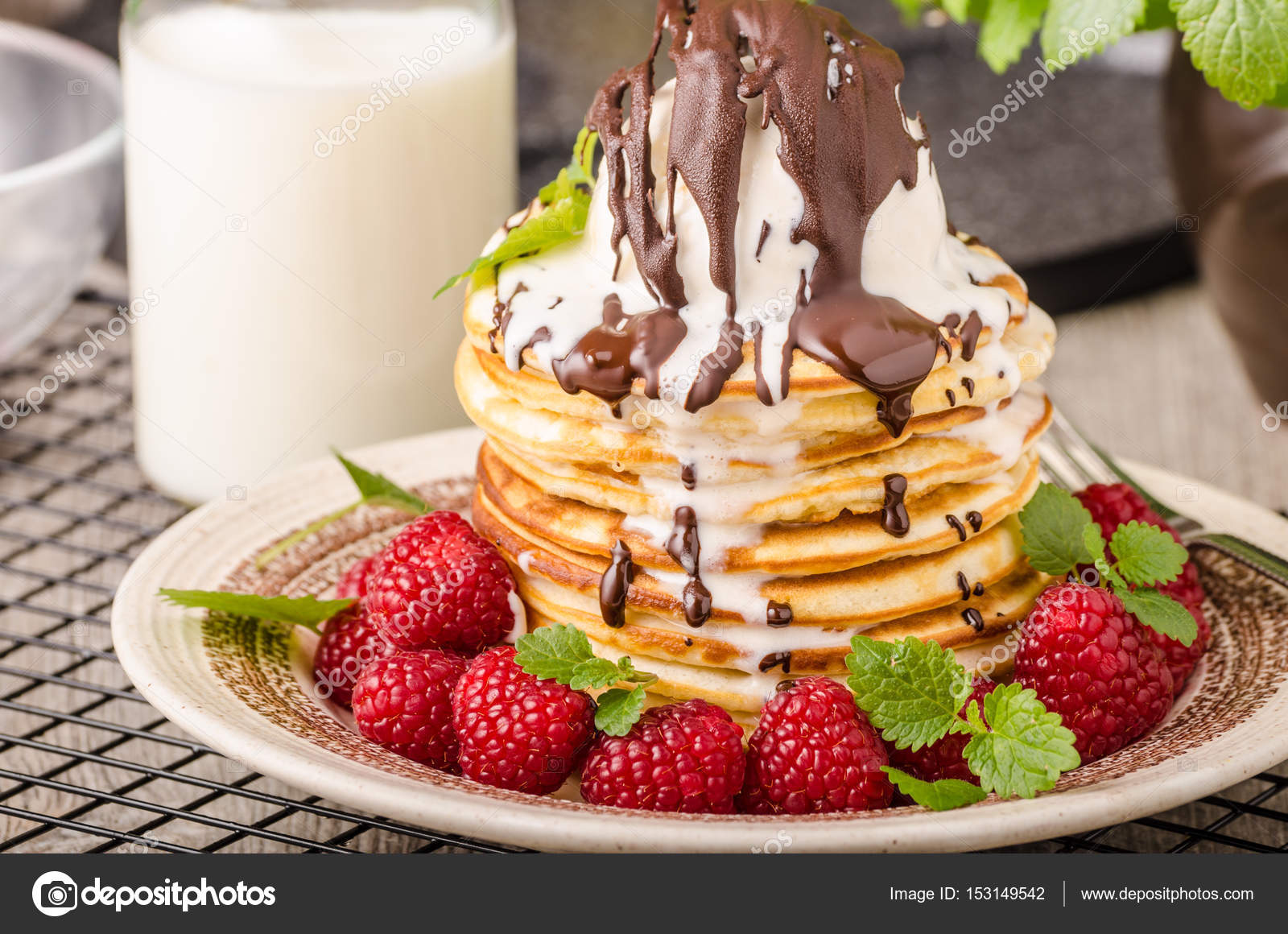 American Pancakes With Icecream And Chocolate Stock Photo Image By C Peteer 153149542