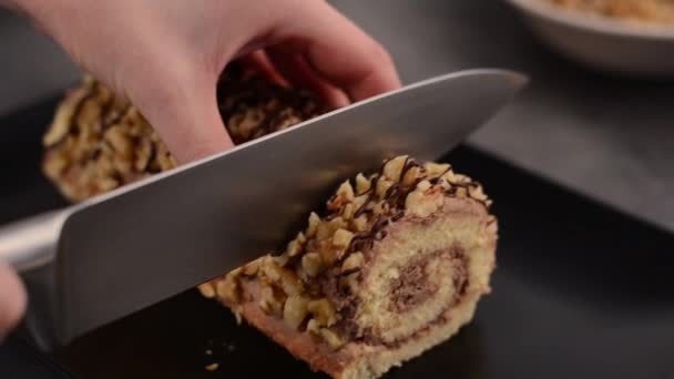 Chocolate roulade dessert stock footage video cooking