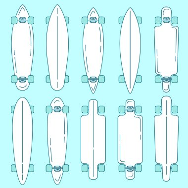 Set of longboard top and bottom view, line design. stock vector