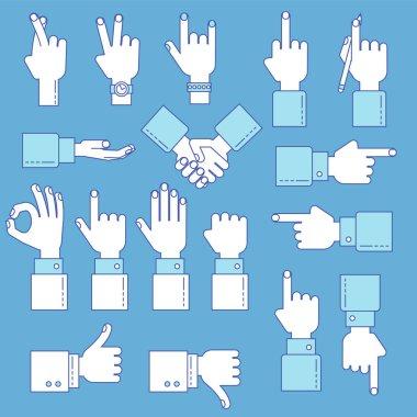 Hands line gesture set