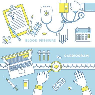 Blood pressure measurement and heart cardiogram. Medicine banners, vector illustrations clip art vector