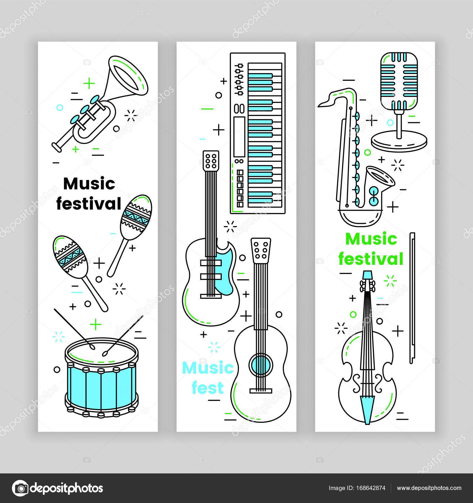 Musik Festival Banner Linie Kunst-set — Stockvektor © kali13 #168642874