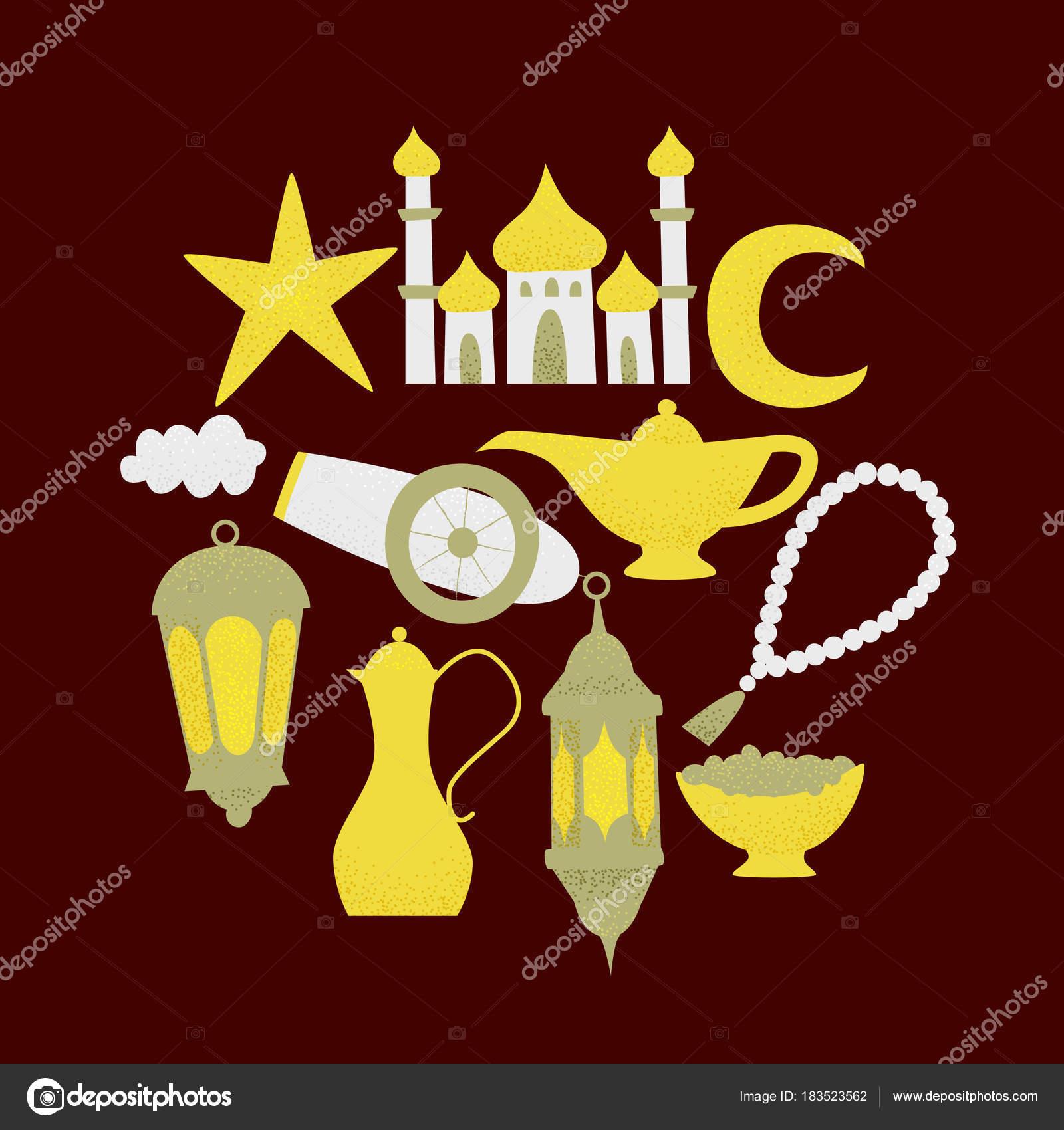 Ramadan Kareem Template Golden Lanterns Mosque Icons Brown