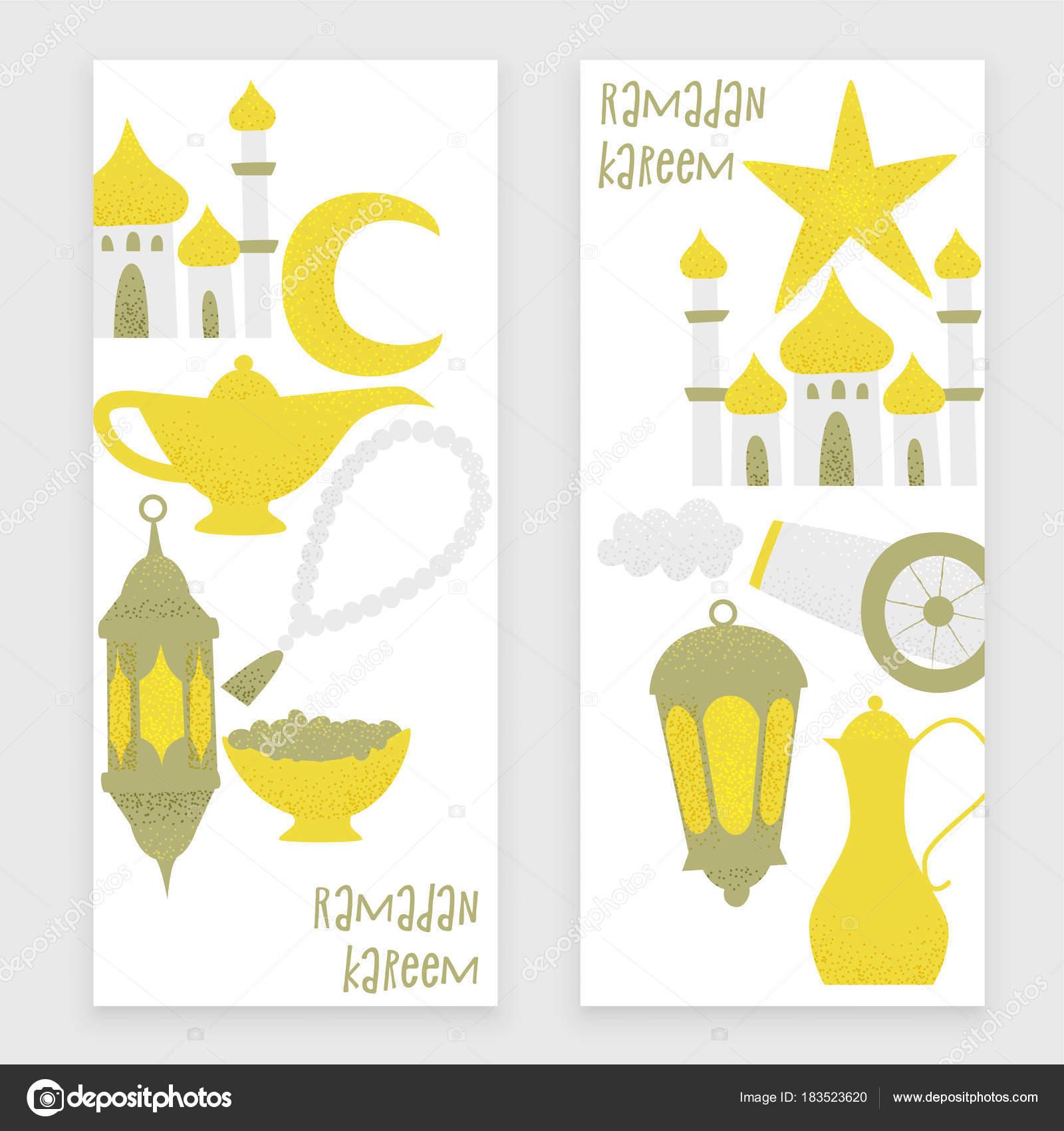 Conjunto Plantillas Ramadán Kareem Con Linternas Oro Los Iconos Los ...