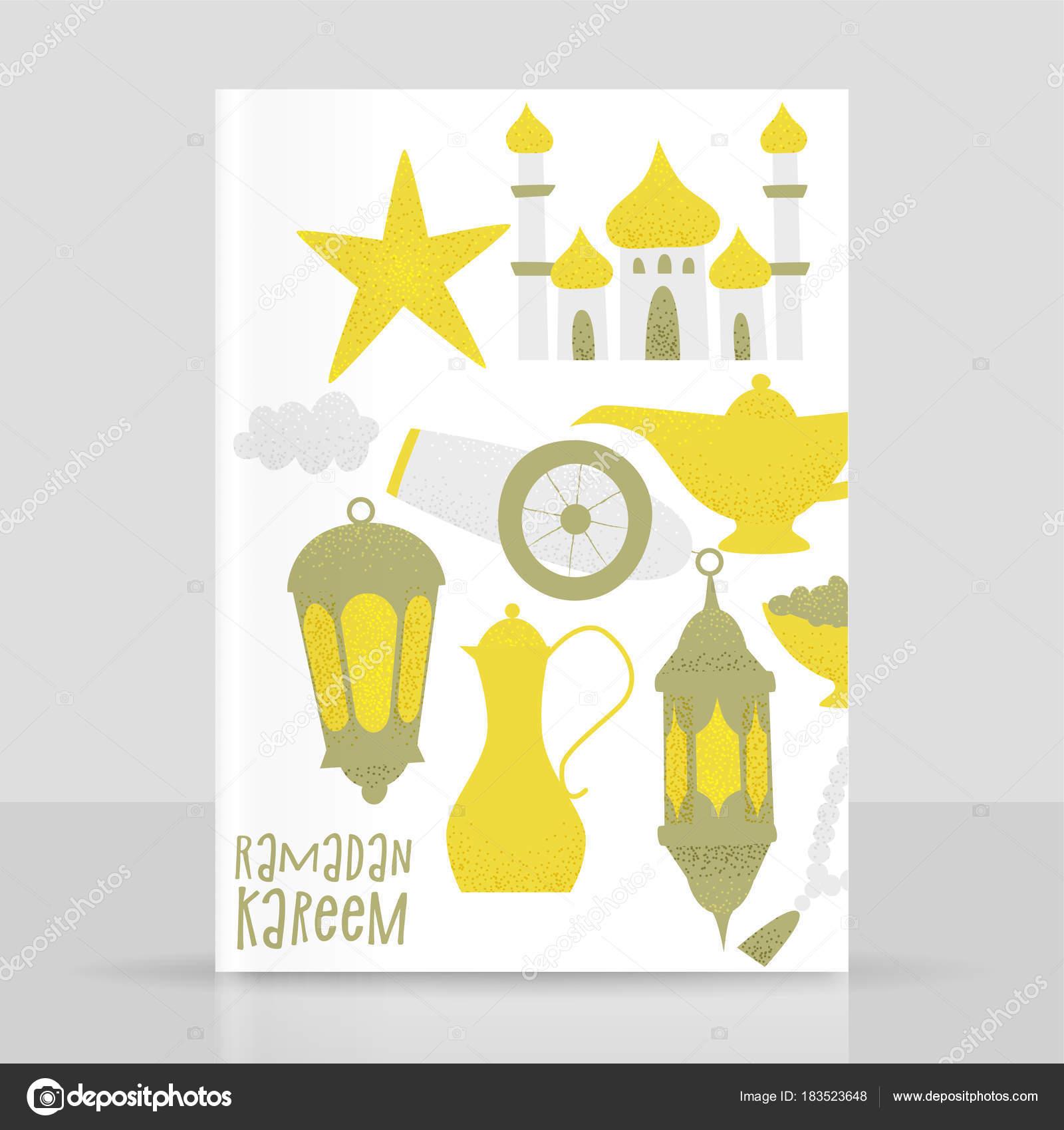 Ramadan Kareem Template Golden Lanterns Mosque Icons White