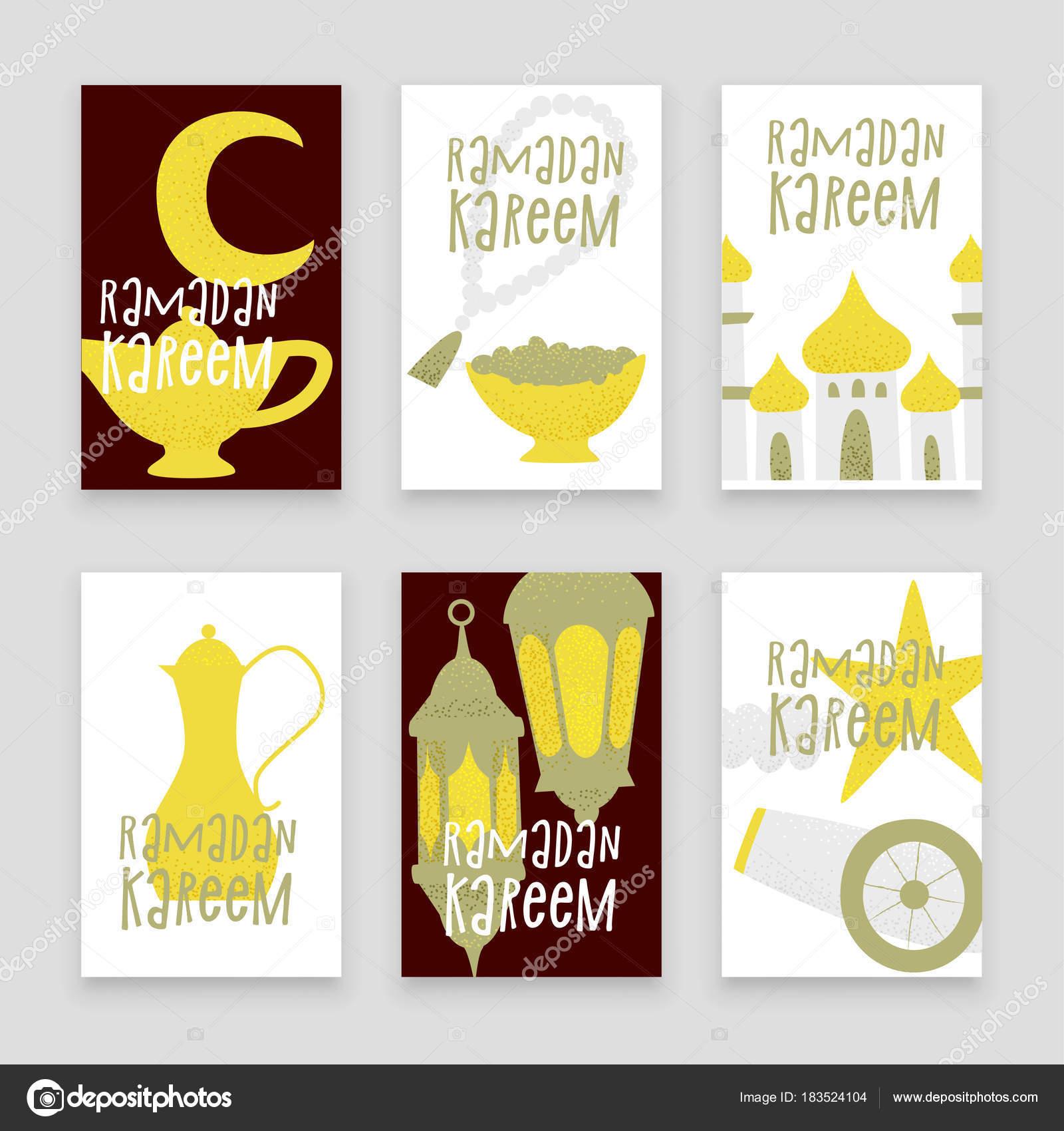 Conjunto Plantillas Ramadán Kareem Con Linternas Oro Los Iconos ...