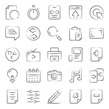 User interface media doodle line icons pack a vast variety of visuals regarding different fields. Editable icons use as per your project needs and feel free to grab this set! icon