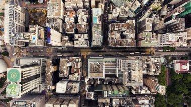 """Картина, постер, плакат, фотообои """"Вид сверху аэрофотосъемка от летящих Дрон глобального города Гонконг с развития зданий, транспорт, энергетической инфраструктуры энергоснабжения."""", артикул 125288102"""