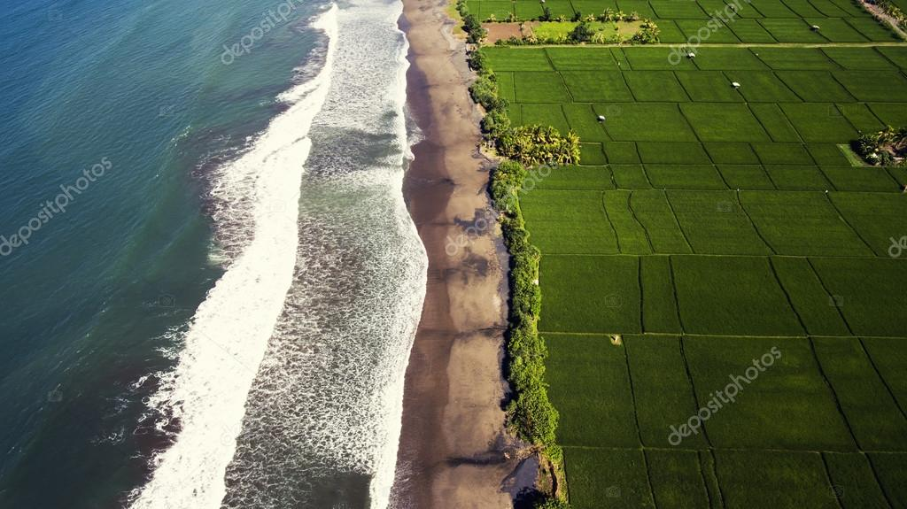 View from the airplane cockpit of beautiful paddy fields increasing in semi-saltier water along volcanic seashore in Asia