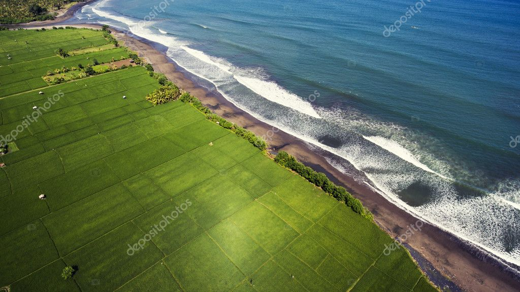 Top view aerial photo from flying drone of beautiful seashore view with black sand beach and good ocean waves for surfing.
