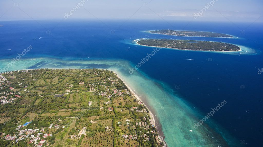 Aerial drone photo of Gili Islands with incredible diversity of marine life, from migrating whales to colourful intertidal creatures