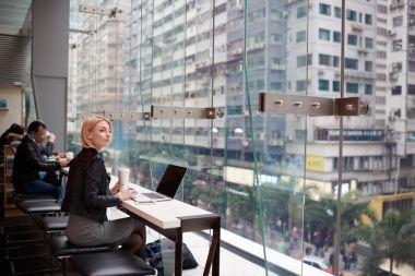 Skilled copywriter earning money on internet using modern technology