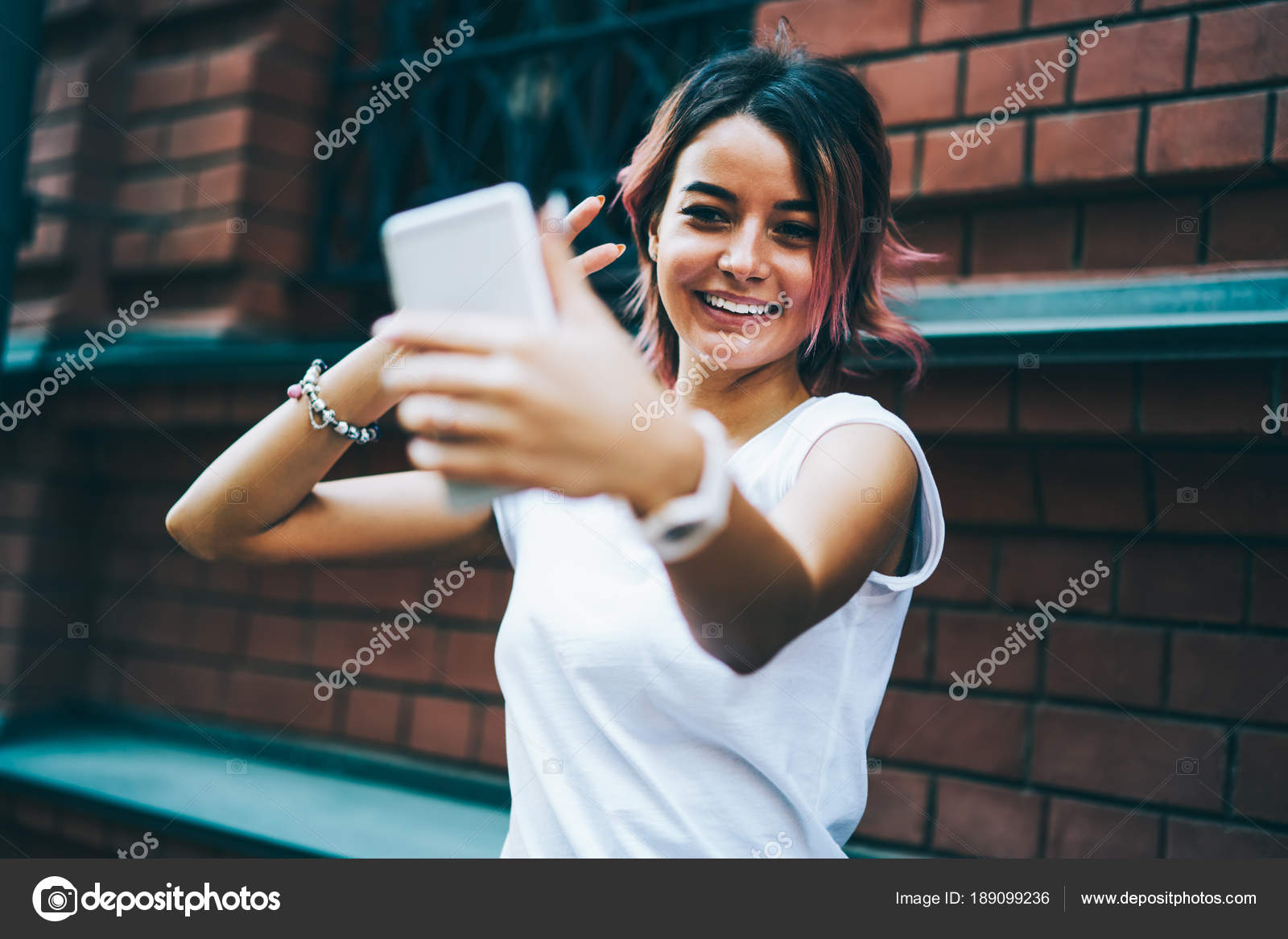Funny Young Woman Short Haircut Making Selfie Photo Modern