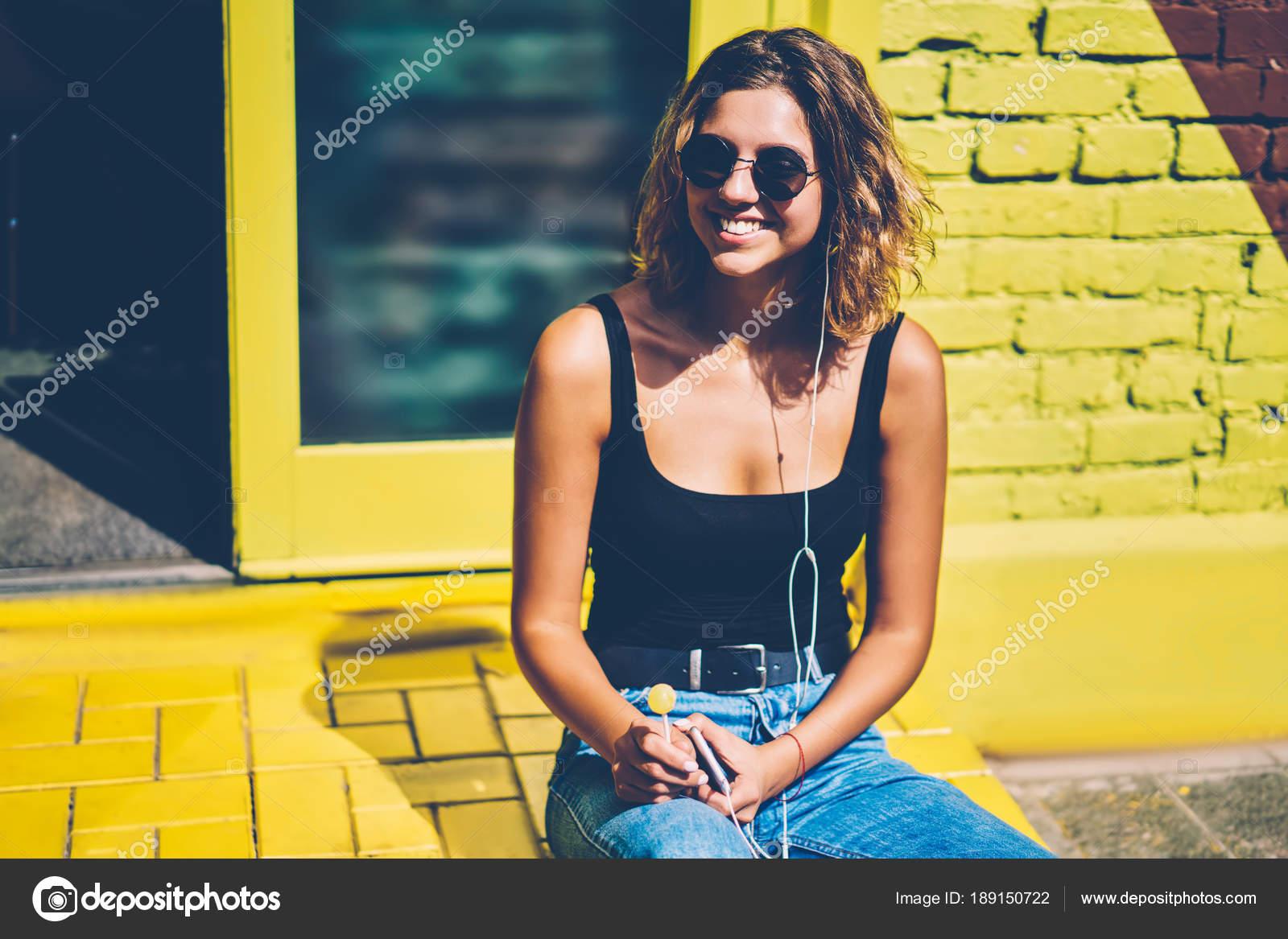 Cheerful Young Woman Sunglasses Lollipop Listening Radio
