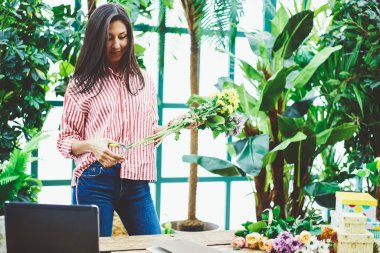 Young female florist using scissors making bouquet of fresh flowers in greenhouse,professional saleswoman of floral shop creating blooming composition due to latest fashion trends in horticulture