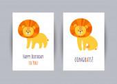 Pozdrav se lvy. Všechno nejlepší. Vektorová ilustrace