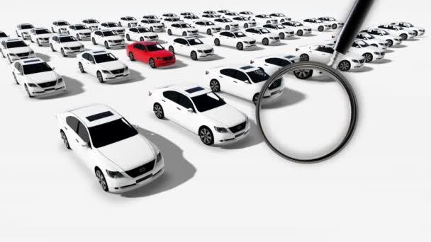 animation close-up of magnifying glass illustration of hundreds cars one red