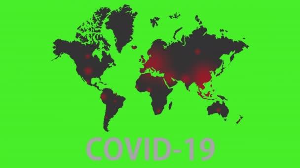 Mapa světa nákazy koronavirem. Zelená obrazovka. Spread COVID-19 around planet.