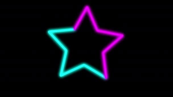 Abstraktní digitální pozadí neon hvězdy modré fialové spektrum animace neon LED
