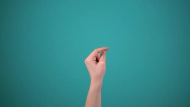 Ručně zobrazit různé strany na modrém pozadí, prst doleva, doprava, nahoru a dolů