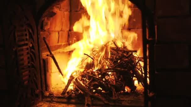Nice Wood Fire Black Background Fireplace Stock Video C Dolfinvik2