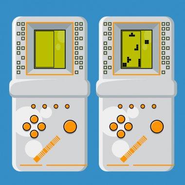 Tetris. Retro electronic game. Pocket brick game. Interactive playing device. Vector illustration.