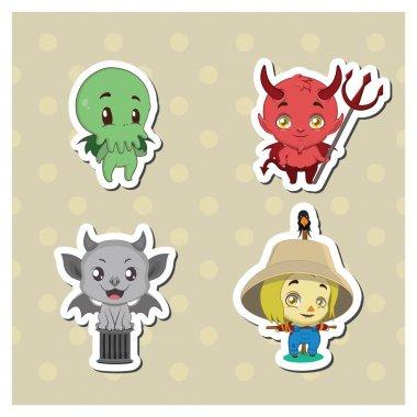 Halloween creatures sticker set