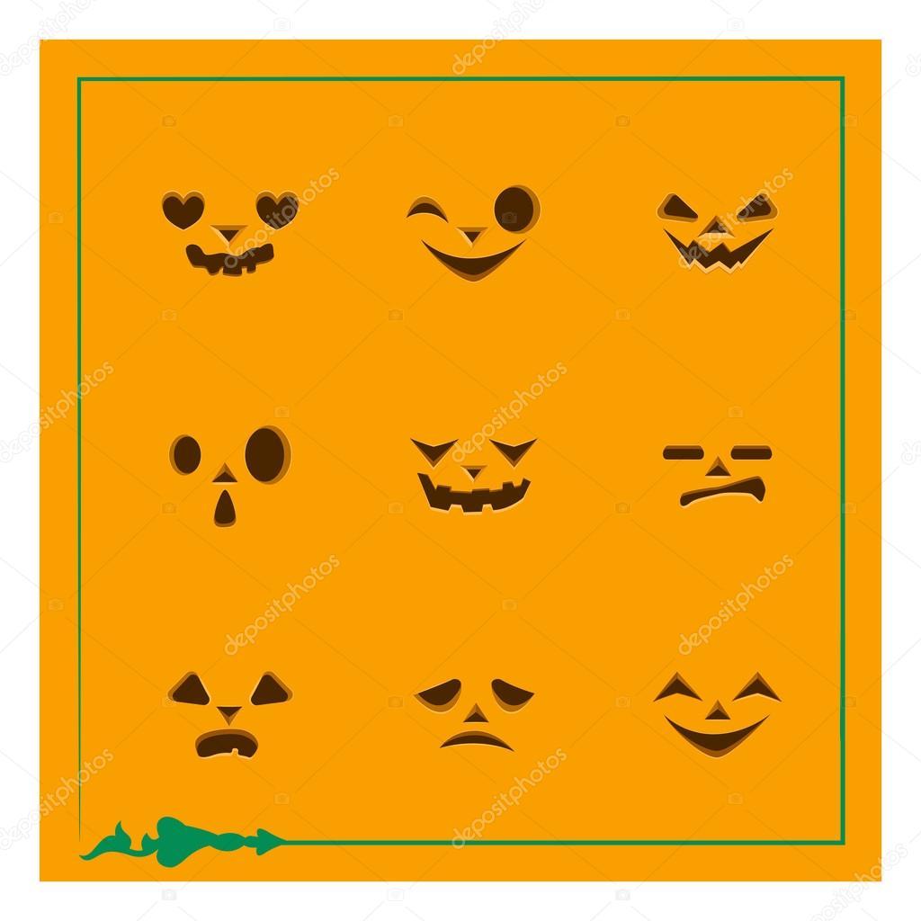 Pumpkin Face Templates | Nine Different Pumpkin Face Templates Stock Vector C Agnessz
